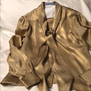 Vince Camuto Gold blouse with neck tie